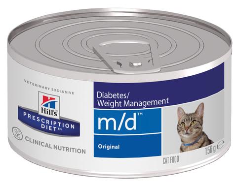 купить хиллс Hill's™ Prescription Diet™ Feline m/d™ Diabetes/Weight Management with Chicken  консервы (влажный корм) для взрослых кошек. диетический рацион при сахарном диабете, ожирении