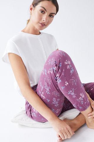 Фіолетові довгі штани з бавовни
