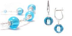 Комплект Примавера голубой (серьги на серебре, ожерелье)