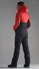 Женский утеплённый прогулочный лыжный костюм Nordski Montana Red-Black 2020 с лямками