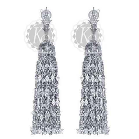 4653 -Серьги-кисточки  из серебра в стиле Ko Jewelry