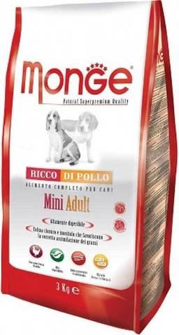 15 кг. MONGE Сухой корм для собак мелких пород с курицей Dog Mini Adult