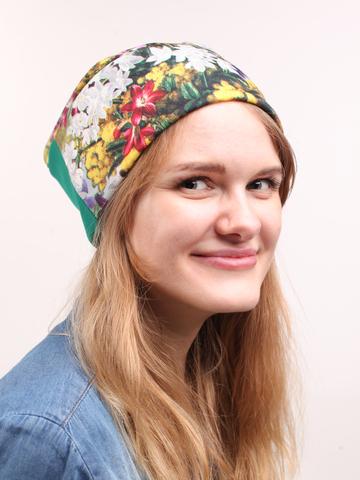Демисезонная шапочка из трикотажа джерси с принтом цветы
