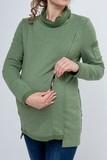 Джемпер для беременных и кормящих 08289 хаки - меланж
