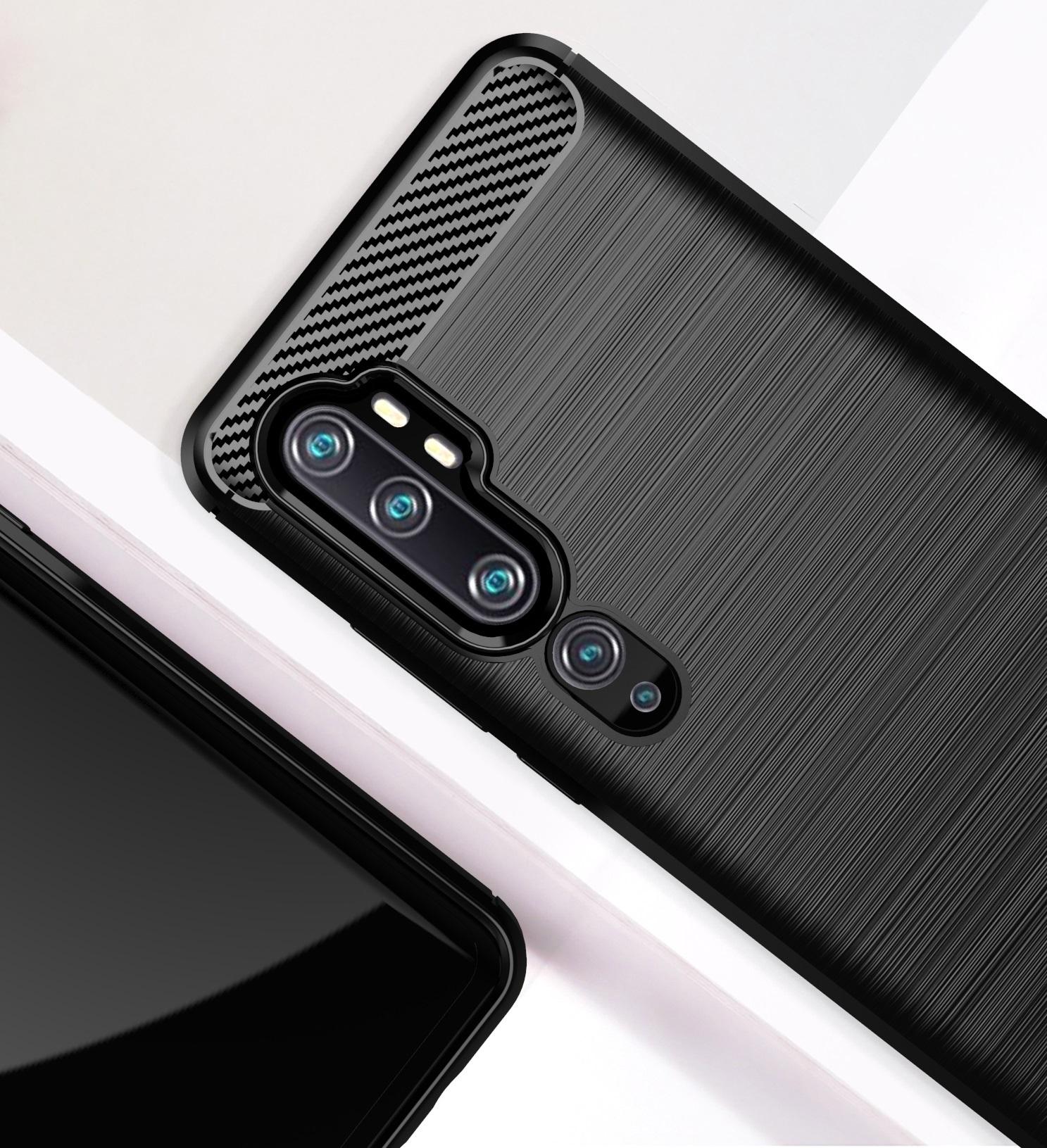 Чехол Xiaomi Mi Note 10 (Mi Note 10 Pro) цвет Black (черный), серия Carbon, Caseport