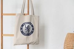 Сумка-шоппер с принтом FC Chelsea (ФК Челси) бежевая 008