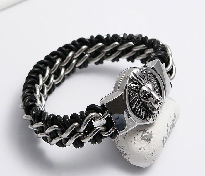 BM483 Мужской браслет со львом из стали и кожи (20 см) фото 07