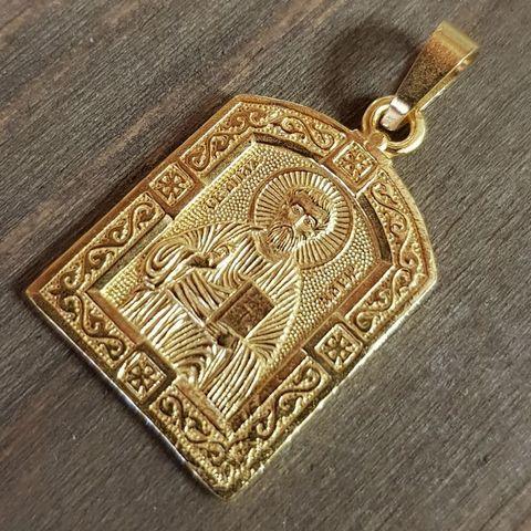 Нательная именная икона святой Марк с позолотой кулон с молитвой