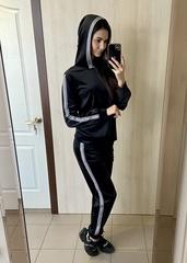 Діаз. Молодіжний прогулянковий велюровий костюм. Чорний