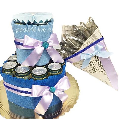 Букет из воблы и торт из напитков 21-01-1