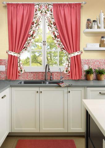Комплект штор для кухни с подхватами Кимберли красный