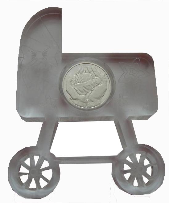 5 долларов 2013 год. Рождение ребенка. Детская коляска. Британские Виргинские о-ва  Серебро