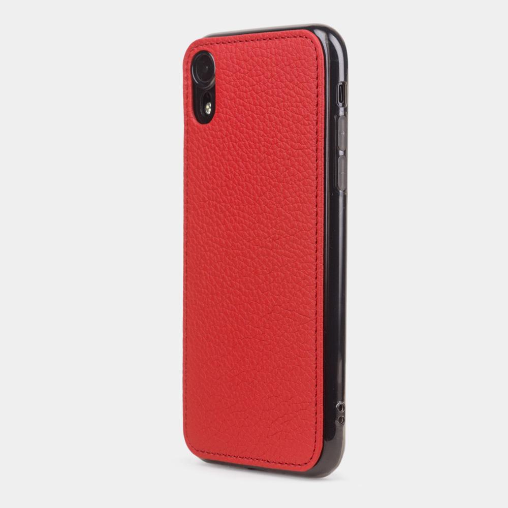 Чехол-накладка для iPhone XR из натуральной кожи теленка, красного цвета