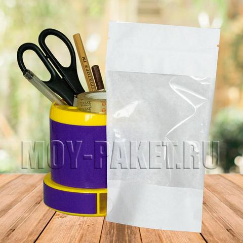 Крафт пакет дой-пак с замком зип-лок и большим окошком 105x185 мм белый