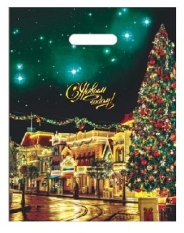 Пакет новогодние с вырубной ручкой 31х40 (60) НГ (Фиеста) 50 шт Россия