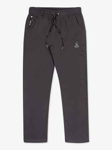 Спортивные штаны графитового цвета без лампасов, без манжета