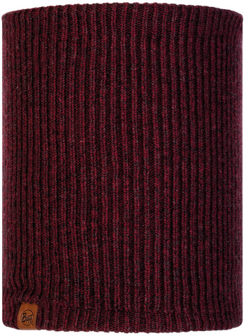 Вязаный шарф-труба с флисом Buff Neckwarmer Knitted Polar Lyne Maroon фото 1