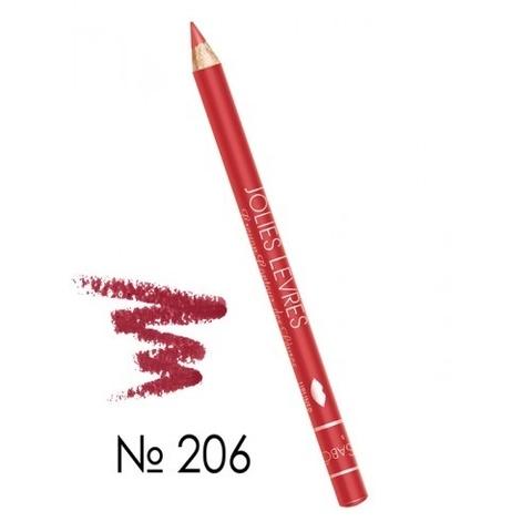 Карандаш для губ холодный красный №206 Vivienne Sabo JOLIES LEVRES