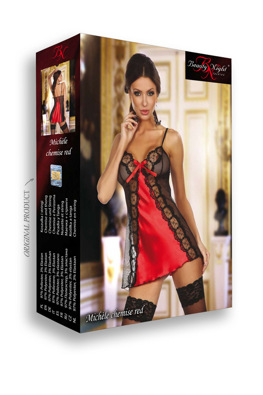 Эротическая женская сорочка черно-красная с прозрачными вставками