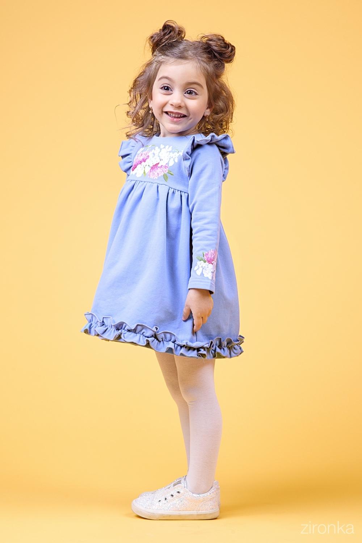 Платье голубое для девочки 38-9015-3