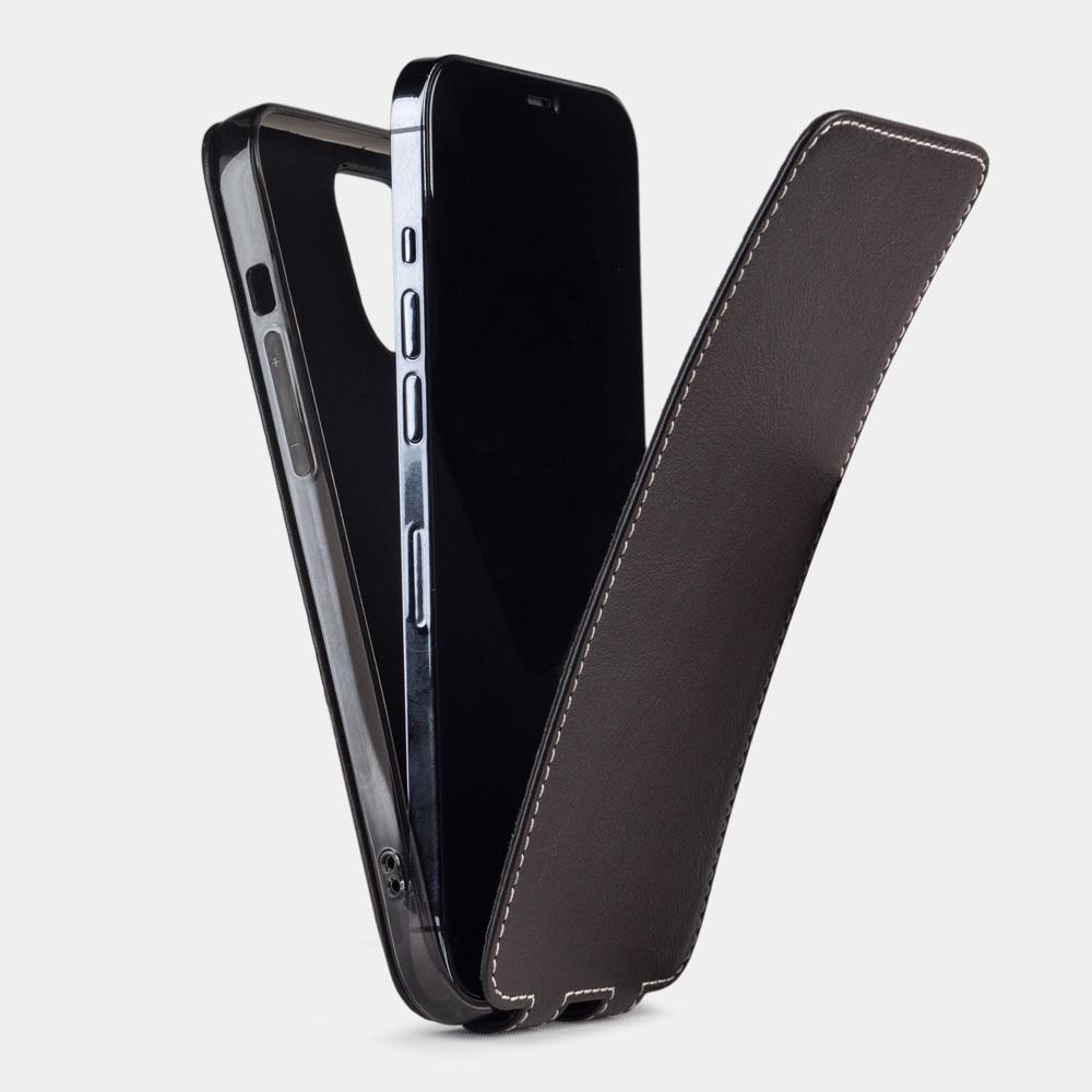 Чехол для iPhone 12/12Pro из натуральной кожи теленка, темно-коричневого цвета