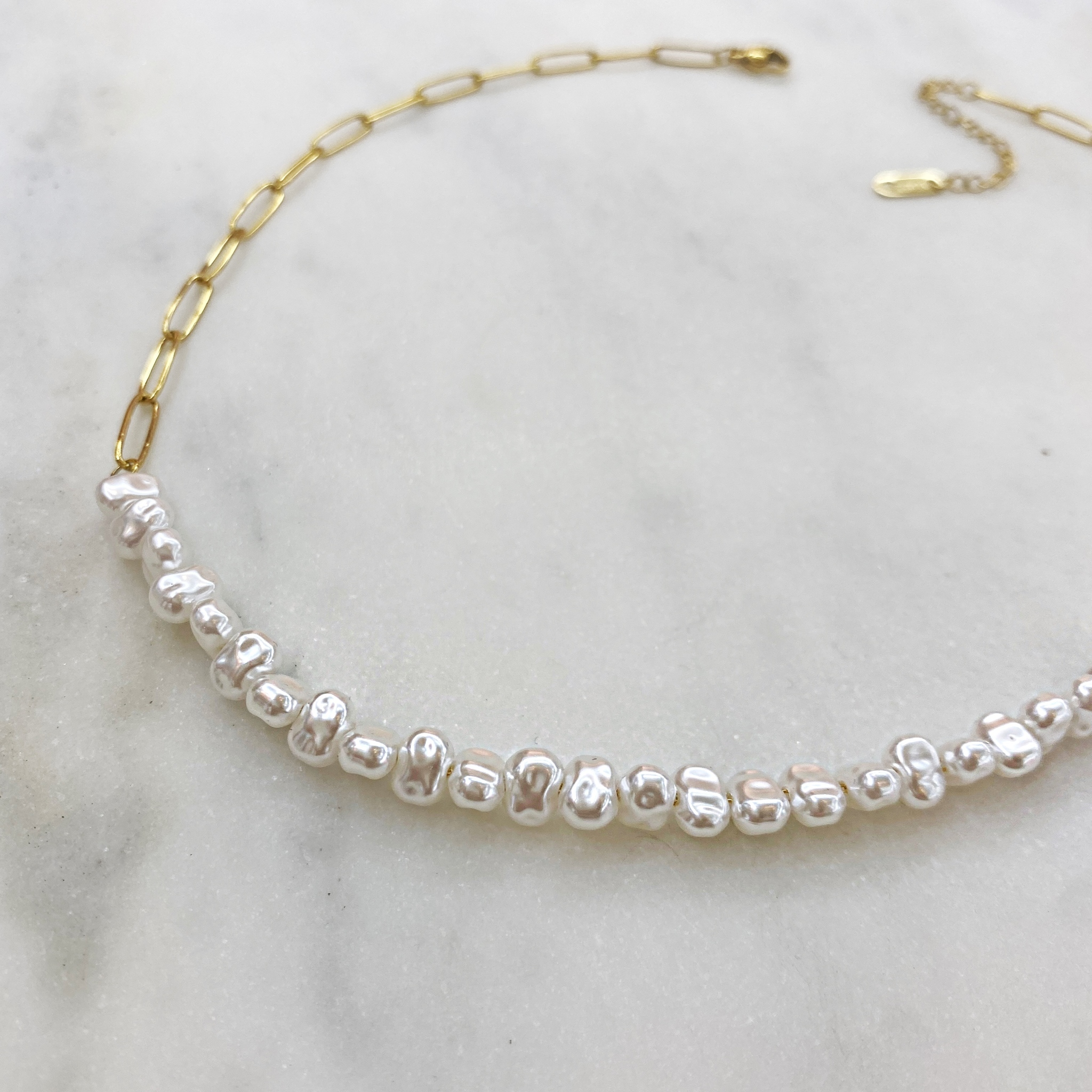 Колье-цепь из наборных жемчужин, сталь (золотистый)