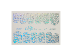Фольга для дизайна ногтей серебро галогеновое 57