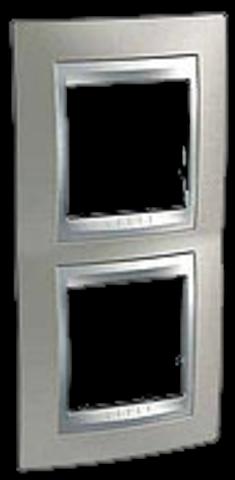 Рамка на 2 поста, вертикальная. Цвет Никель-алюминий. Schneider electric Unica Top. MGU66.004V.039