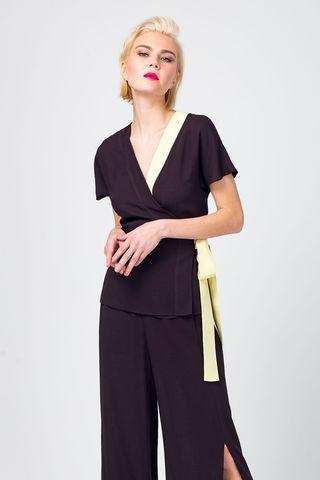 Фото луза-кимоно с контрастной окантовкой из вискозы - Блуза Г670-370 (1)