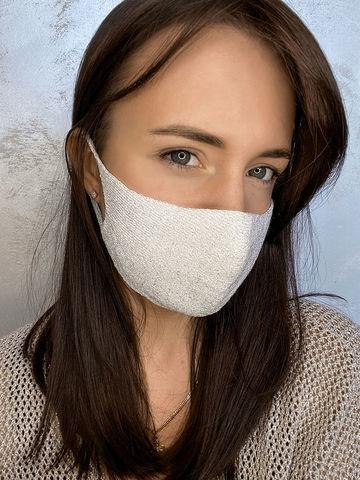 Женская гигиеническая трикотажная маска светло-серого цвета - фото 1