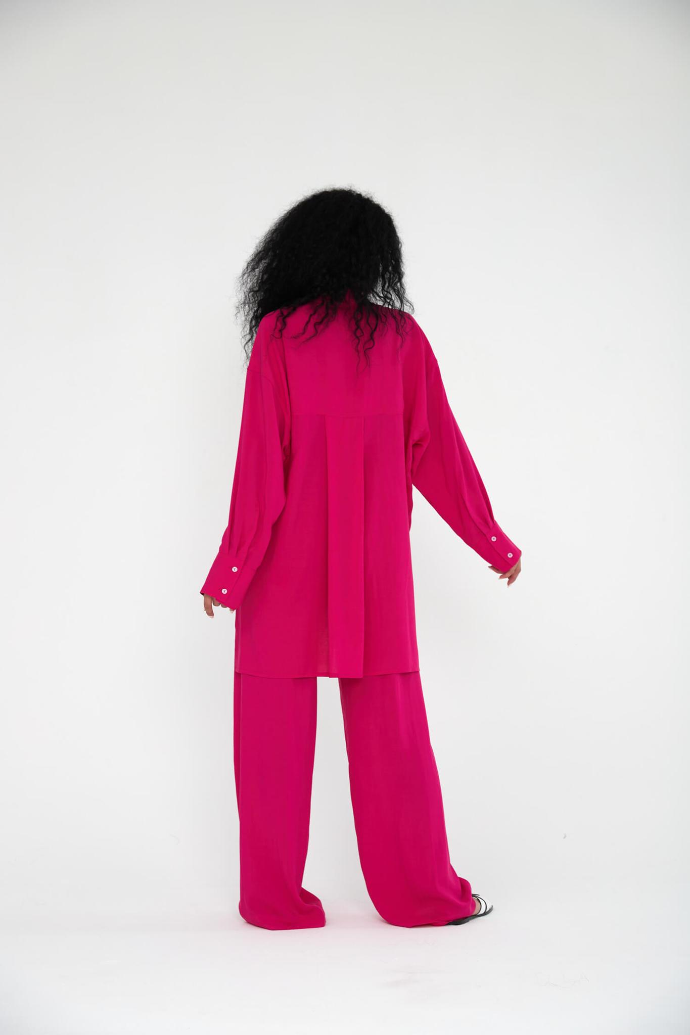 Прямые брюки на кулиске из вискозы, фуксия