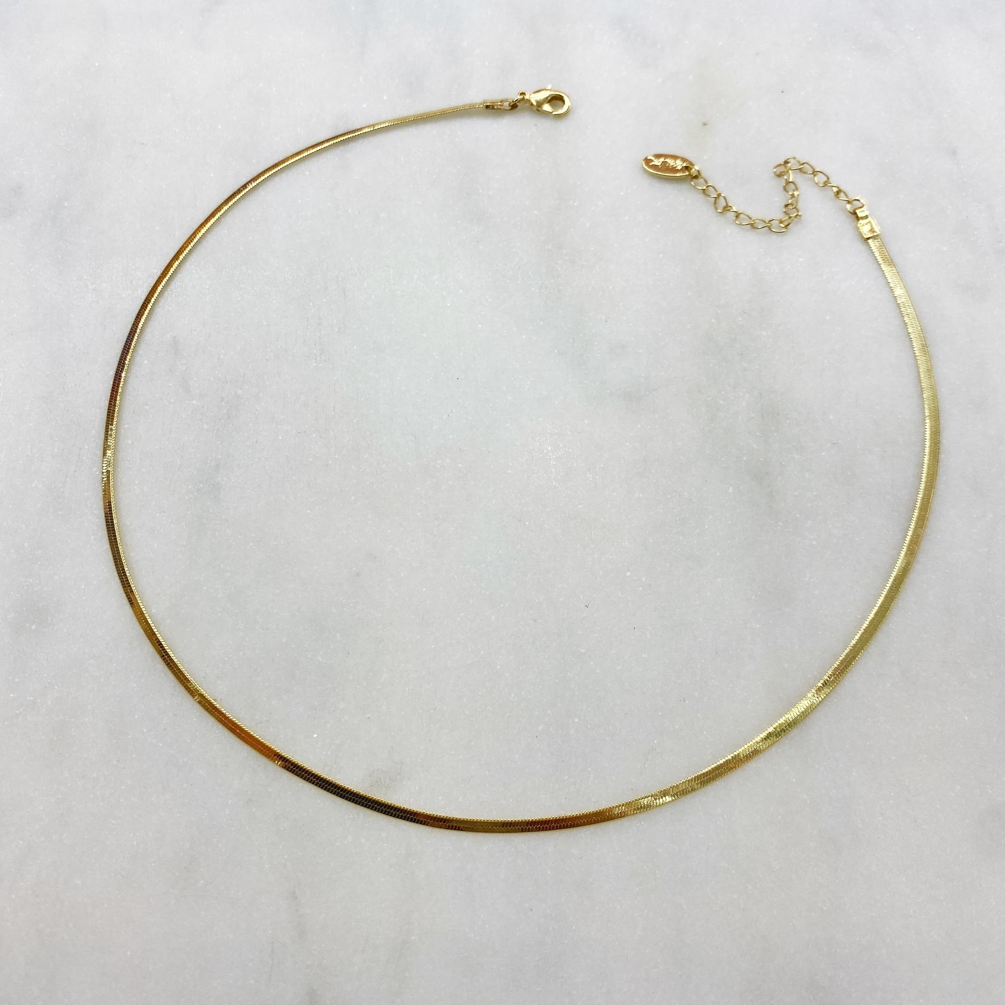 Колье-снэйк узкое 2 мм (золотистый)