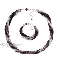 Комплект из бисера черно-фиолетовый 24 нити