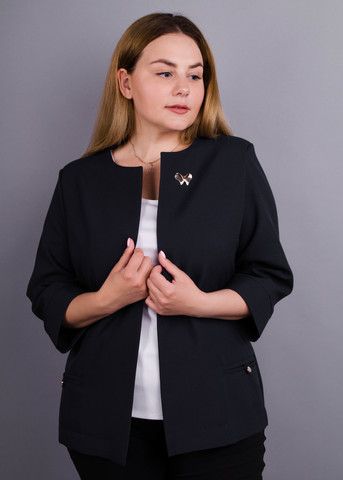 Омега. Жіночий офісний жакет великих розмірів. Чорний.