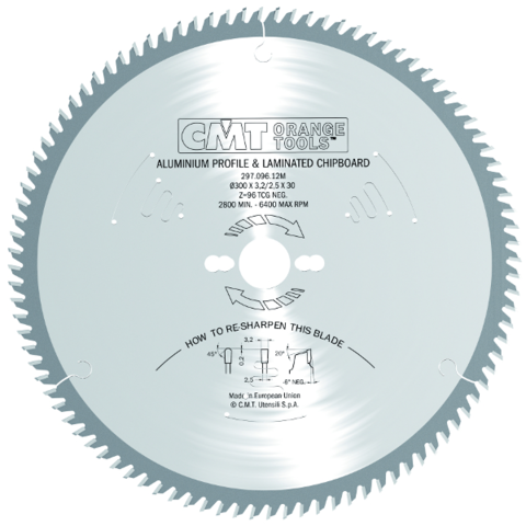 Пильный диск СМТ для цветных металлов и PVC 260x30x2,8/2,2 -6° TCG Z=80
