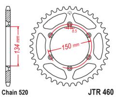 Звезда задняя JT R 460.47  Kawasaki KX KDX