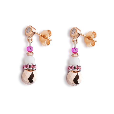 Серьги Coeur de Lion 4914/21-0402 цвет белый, розовый