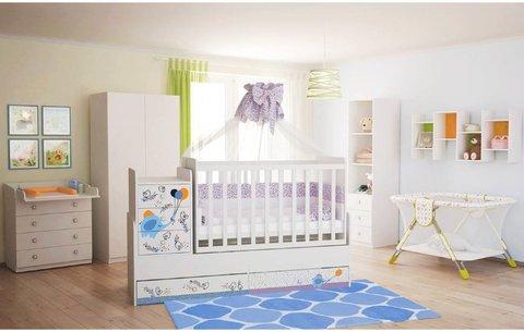 Кроватка детская ФЕЯ 1100 Слоник на шаре, белый