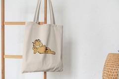Сумка-шоппер с принтом Кот, Кошка, Котенок, Гарлфилд (кошки) бежевая 003