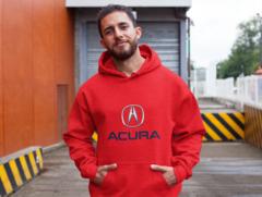 Мужская толстовка красная с капюшоном (худи, кенгуру) и принтом Акура (Acura) 001