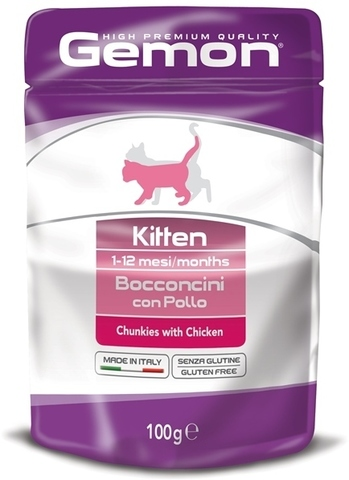 Gemon Cat Kitten Pouch Chunkies with Chicken