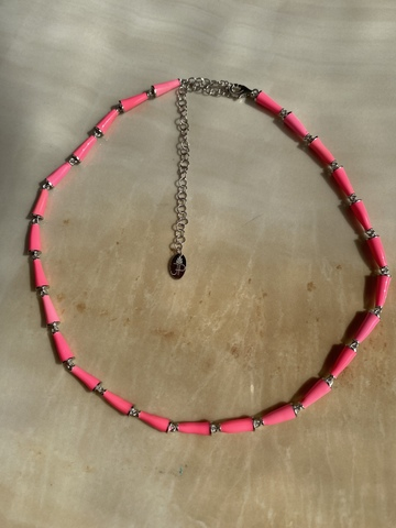 Колье Бонго розовое, серебряный цвет
