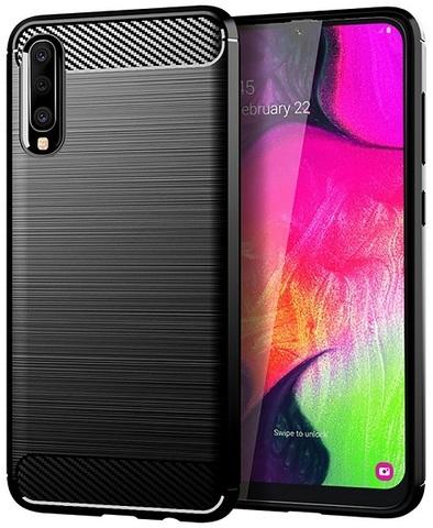 Чехол для Samsung Galaxy A70 (Galaxy A70S) цвет Black (черный), серия Carbon от Caseport
