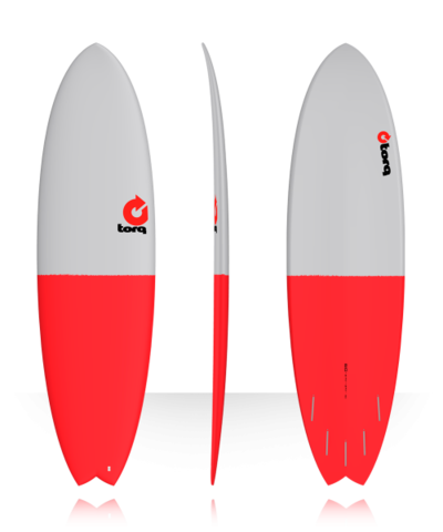 Серфборд TORQ 6'10'' Fish - Fifty Fifty (gray/red tail)
