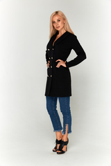 Черное платье-пиджак Lolly из креп-дайвинга