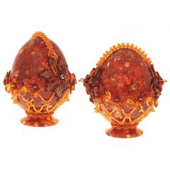 Сувенирное Пасхальное яйцо (натуральный янтарь, бисер), АВ-0755