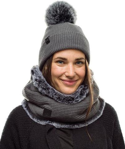 Комплект женский шапка-шарф вязанные Buff Kesha Grey фото 1