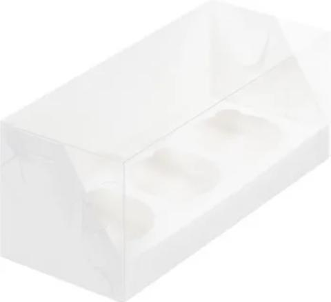 Коробка на 3 капкейка с пластиковой крышкой белая, 24*10*10см