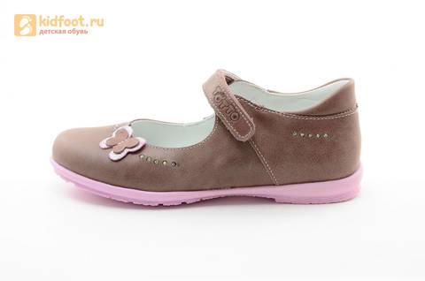 Туфли Тотто из натуральной кожи на липучке для девочек, цвет ирис серобежевый, 10204B. Изображение 3 из 16.