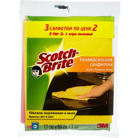 Салфетки хозяйственные Scotch-Brite вискоза 38x28 см 3 штуки в упаковке